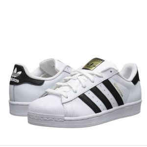 Adidas White Shoes With Black Stripes